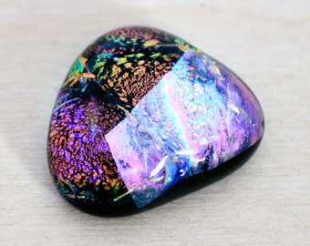 Dichroic Cabochon, Triangle Cabochon, 16 mm x 18 mm, Handmade Cabochon, Cab for Bead Embroidery
