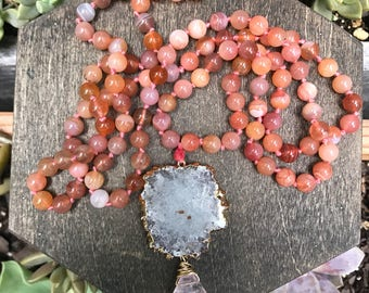 OOAK Stalactite Mala - hand knotted necklace // rose quartz // carnelian  // bridal jewelry // gifts for her