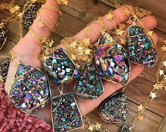 Preorder OOAK Rainbow Titanium Amethyst cluster necklace // stars // stardust // druzy