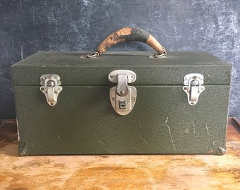 Kennedy Kits Vintage Tool Tackle Box Leather Handle Distressed Army Green Metal Tool Chest