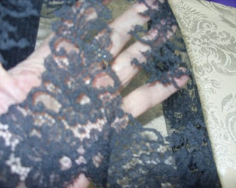"""No. 100 Black Cotton French Chantilly Lace; 3 Yards and 24"""" x 7-3/4""""; Pristine and Unused"""