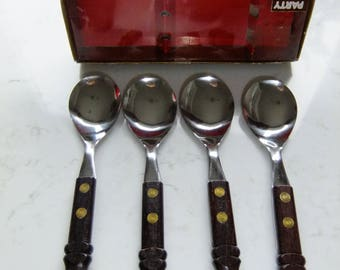 Vintage Swedish set of four table spoons - Party - stainless steel and rosewood