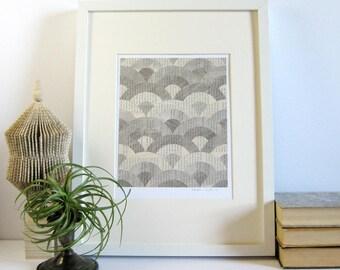 Silver Art Deco Circles - Original Book Paper Collage Art - Story Reconstructed No5 - Metallic Silver Wall Decor Minimalist Art Ocean Waves