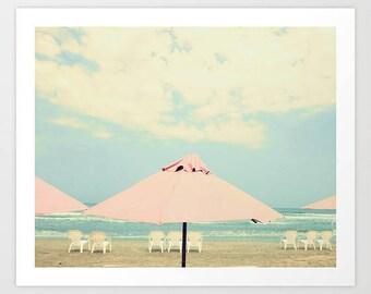 Beach prints, beach print, coral bathroom wall art, canvas art, large beach print, large art, beach pink umbrella art canvas wall art canvas