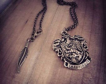 Harry Potter ♠Griffondor♠ steampunk bronze shield necklace