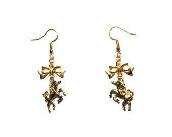 ♞Licorne♞ gold knot earrings