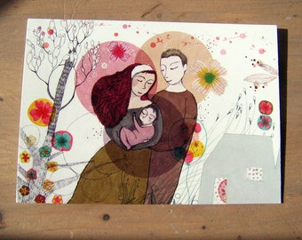 "Postcard ""Family"" personal illustration"