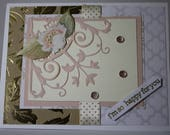 Unique  Elegant Wedding Marriage I'm So Happy For You Congratulations Card Gold Pink White
