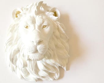 WHITE wth GOLD EYeS EaRS LARGE LiON Faux Taxidermy Animal Head wall mount Faux Taxidermy White Lion w/ Gold Accents Safari  Lion Wall Art
