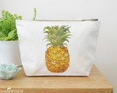 Pineapple Canvas Wash Bag, Large Zipper Pouch, Makeup Bag, Toiletry Bag, Accessory Bag, Pineapple Gift