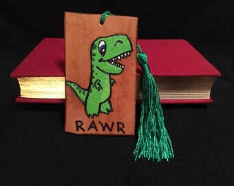"Brown Leather ""RAWR"" Dinosaur Bookmark"