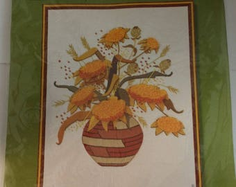 Vintage 20 by 24 Embroidery Kit -- 1970s Sunset Stitchery Sunflowers in Basket, Gold, Brown, Orange, Yellow Wool Yarn -- Original Package