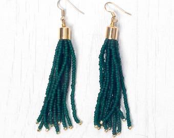 Matte Dark Green with Galvanised Gold accent Tassel Earring, Seed Beads Drop Earring, Handmade in Nepal, Beaded earring with tassel