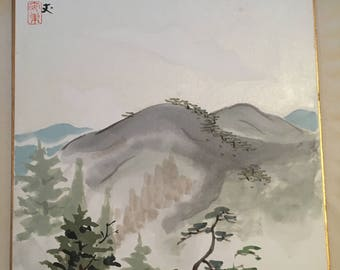 Japanese painting on shikishi, Mountain and trees.