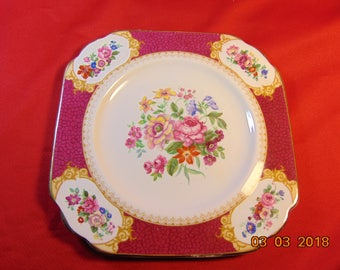 "Six (6), 7"" Square, Salad/Dessert Plates, from J & G, in the Ye Old English (Grosvenor China), Pattern."