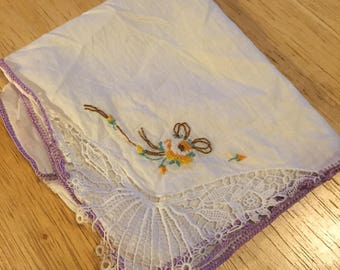 White Hankie with Petit Point Flower and Purple Edging