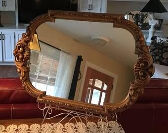 Mirror, Elegant, Vintage, Gold Tone, Wall Mirror, Baroque Style, Rectangular, Home Decor, Ornate, Wall Decor, Vintage Wall Hung Mirror