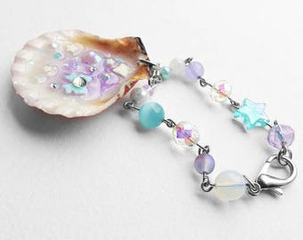 Magical Girl/Fairy Kei/Holographic/Pastel/Kawaii/Opal Night Magical Mermaid Sea Shell Bag Charm