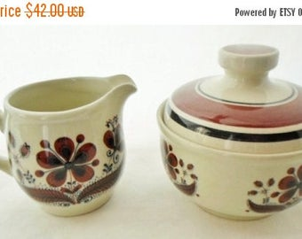 ON SALE Vintage Figgjo Norway Hedda Cream & Sugar Set, Made In Norway, Stoneware, Beige And Brown Floral Pattern, Neutral Colors, Kitchen