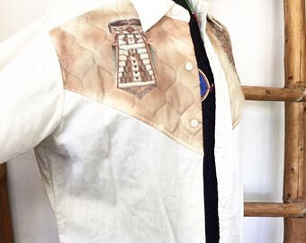 70s Native American Quilted Western Button Shirt