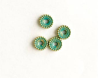 32 gold bead green patina - hand patina spacer beads.