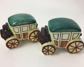 Stagecoach Salt Pepper Shakers Japan Vintage Ceramic Mid Century Western Green Yellow