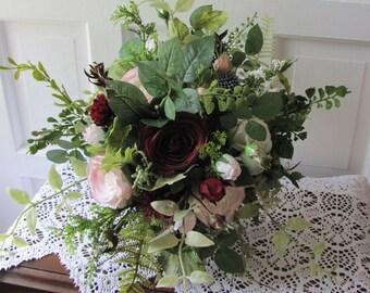 Brides Bouquet, Bridal Bouquet,Silk Bridal Bouquets, Boho Bridal Bouquet, Burgundy Pink Wedding Bouquets, Rose Garden Bridal Style Bouquets