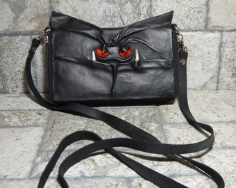 Wallet Purse Cross Body With Face Small Monster Harry Potter Labyrinth Black Leather Detachable Strap Convertible 395