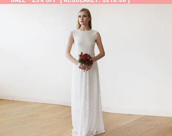 25% OFF Sleeveless Ivory Floral lace Bridal Gown With Open Back 1141