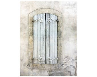 Window Shutters Photo, South of France, White Beige, Calm Colors, Rustic Decor