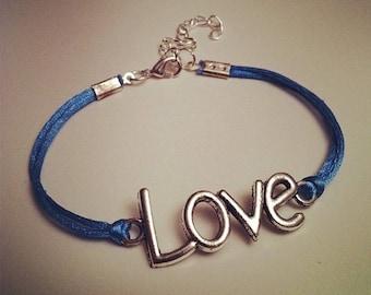 Light blue cord bracelet with LOVE silver