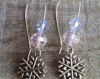 Snowflakes earrings large silvery blue sky 4 clasps
