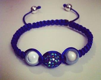Shamballa bracelet adjustable blue and gray #167