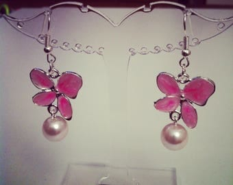 Cherry Blossom enamel with white pearls earrings