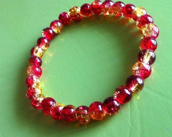 Bracelet red and yellow cracked beads