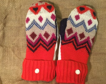 Multi color red sweater mittens