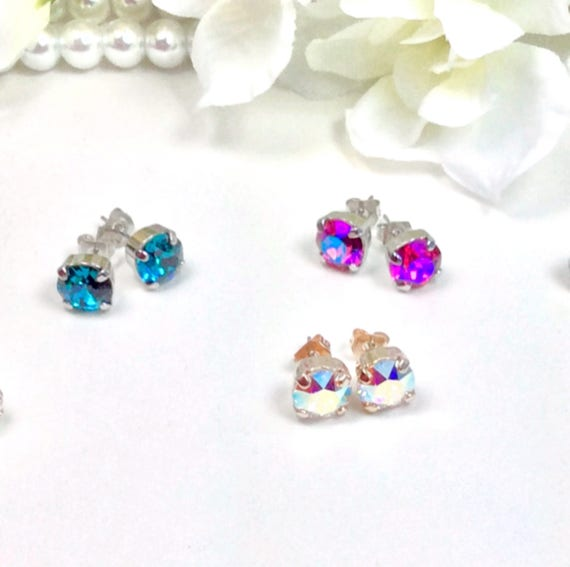 Swarovski Crystal 8.5mm STUD Earrings - Classy - Choose Your Favorite Color and Finish -  FREE SHIPPING