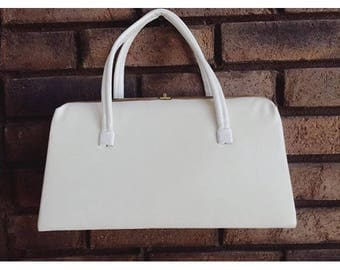 Vintage 1960s Clean White Faux Leather Handbag