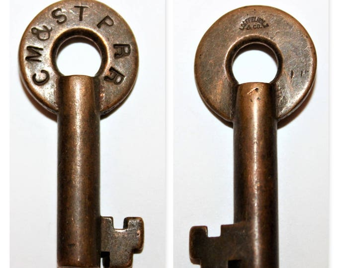 Antique 1900s Loeffelholz Co.  Brass Hollow Barrel Key, CMSTP RR, Chicago, Milwaukee, St. Paul Railroad, Switch Lock Key