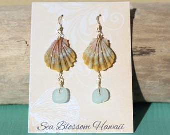 Kauai sunrise shell moonrise and mint sea glass gold-filled earrings