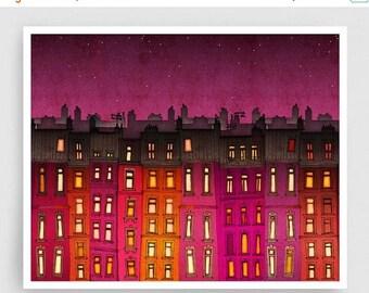 30% OFF SALE: Paris red facade (landscape) - Paris illustration Fine Art Prints Posters Home decor Wall decor Gift ideas for her Living room