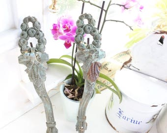 Antique French Curtain Rod Supports, c. 1890, Verdigris, Heavy, Bronze, Valentines gift, Ribbons, Wreaths, Curtain Holdback, Romantic