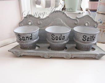 Antique German Enamelware Laundry Set, 3 pots, Grey, Sand, Soda, Seife, garden pots, Valentines Gift, Housewarming, Romantic