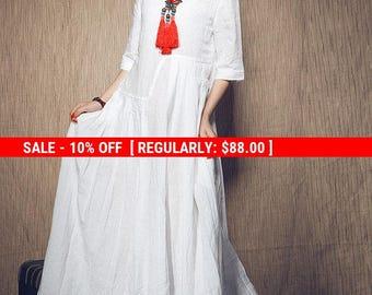 SALE! White Dress , Maxi Linen Dress, Wedding Maxi Linen Dress (in Stock) Xxl,xxxl / White Kaftan / Extravagant Long Dress / Party Dress