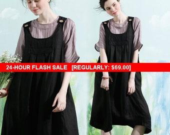 Flash Sale Linen Pinafore Dress, Linen Apron Dress, Maxi Linen Dress, Linen Halter Dress, Black Linen Dress, Black suspended dress