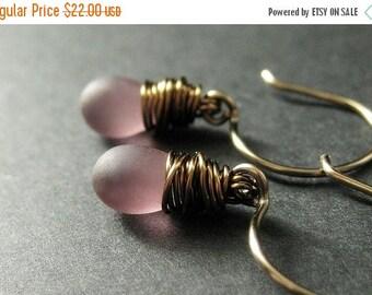 SUMMER SALE BRONZE Earrings - Purple Dangle Earrings with Frosted Glass Teardrops, Wire Wrapped Earrings. Handmade Jewelry.