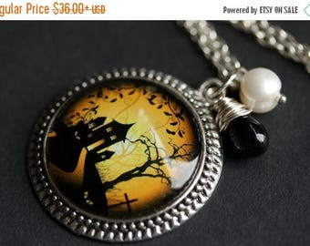 BACK to SCHOOL SALE Halloween Necklace. Haunted House Pendant with Fresh Water Pearl and Black Teardrop. Orange Necklace. Sunset Necklace. H