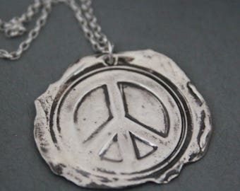 Peace Sign Necklace, Wax Seal Necklace, Peace Sign Pendant, Wax Seal Stamp Jewelry, Wax Seal Pendant, Sterling Silver Stamp Jewelry