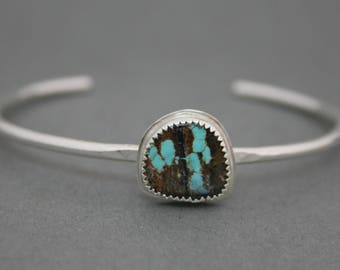 Sterling Silver Cuff, Turquoise Cuff, Stacking Cuff, Hammered Silver Cuff, Turquoise Bracelet, Boho Cuff, Turquoise Bracelet, Bohemian