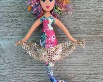 painted soft sculpture mermaid ornament